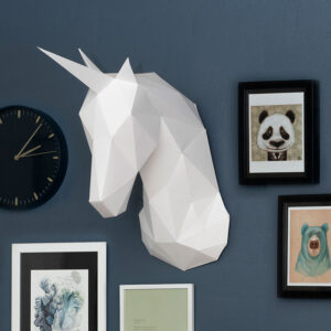Kreative ideer med papir – 3D enhjørning, hvid